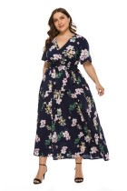 Plus Size Floral Maxi Dress with Short Sleeves