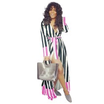 Wide Stripes Long Sleeve Wrap Maxi Dress