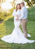 Wide Straps Maternity Mermaid Wedding Dress