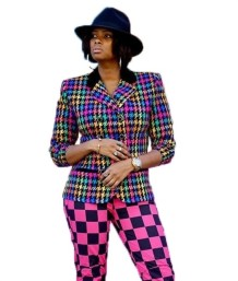 Plaid Print Colorful Long Sleeve African Blazer