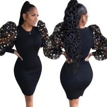 Pop Kollu Siyah Örgü Mini Elbise
