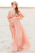 Off Shoulder Maternity Maxi Dress