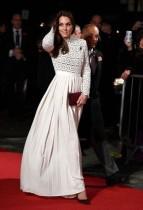 Weißes Langarm Vintage Abendkleid
