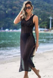 Black Crochet Sleeveless Slit Beach Dress