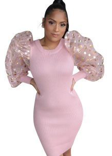 Pink Knitting Mini Dress with Pop Sleeves