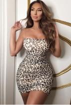 Mini vestido de leopardo con tirantes sexy