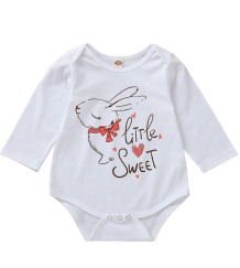 Baby Girl Print White Long Sleeve Underwear Rompers