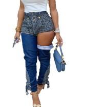 Jeans de cintura alta con patchwork únicos