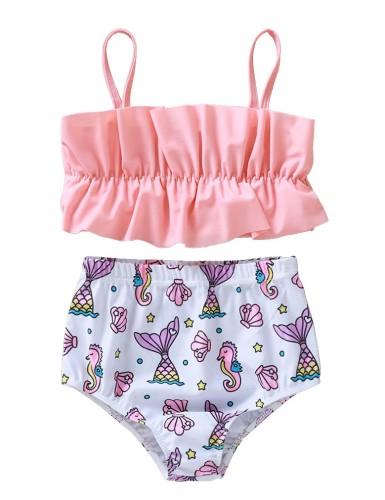 Sujetador de bikini y parte inferior estampada para niña