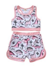 Top de biquíni com estampado infantil para menina e shorts correspondentes