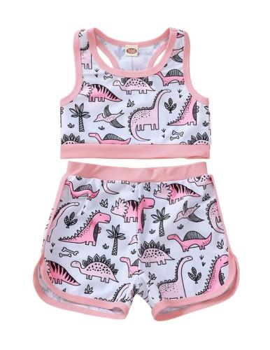 Top de bikini con estampado de niña para niños y pantalones cortos a juego