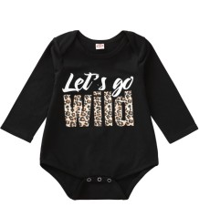Baby Girl Print Black Long Sleeve Underwear Rompers