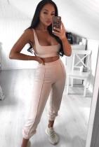 Conjunto de sujetador y pantalón de yoga de color sólido sexy