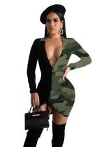 Глубокий V сексуальный принт с длинным рукавом и рюшами платье