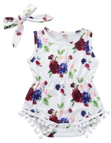 Baby Girl Summer Print Floral Rompers
