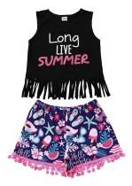 Top corto de verano para niña y pantalón corto estampado