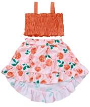Укороченный топ с летними принтами Kids Girl и высокая низкая юбка