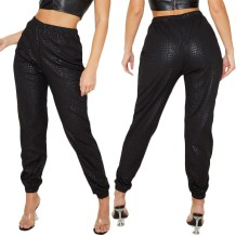 Black Snake Skin High Waist Trousers