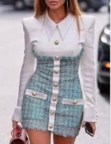 Элегантное плюшевое мини-платье с длинными рукавами
