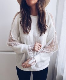 White Lace Accent Ripped Sweater