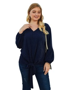 Plus Size V-Neck Knot Shirt with Pop Sleeves