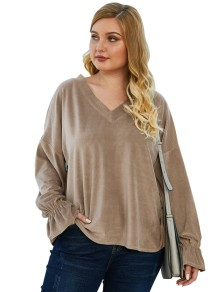 Plus Size V-Neck Plain Shirt with Sleeves