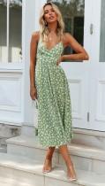 Floral Green Straps Long Resort Dress