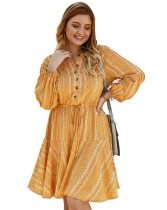 Plus Size Drawstrings Casual Retro Dress