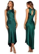 Vestido de fiesta verde sin mangas alto bajo largo
