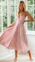 Floral Purple Straps Long Resort Dress