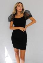 Black Mini Dress with Mesh Pop Sleeves