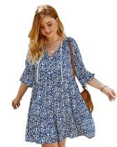 Vestido informal con estampado de una línea de talla grande