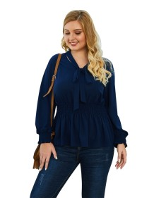 Plus Size Tied Peplum Blouse with Sleeves