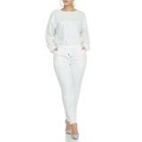 Conjunto de pantalones y top de manga larga con cuentas blancas