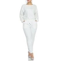 Beyaz Boncuk Uzun Kollu Üst ve Pantolon Takım