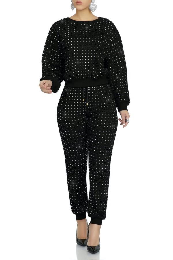 Conjunto de pantalones y top de manga larga con cuentas negras