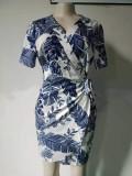 Mini abito avvolgente con scollo a V stampato