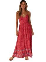 Vestido Largo Estampado Flor Correas