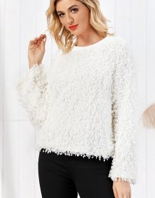 White Round Neck Plush Top