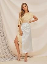 Renkli Blok İki Parçalı Düzensiz Elbise