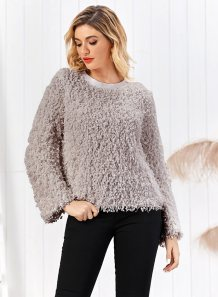 Grey Round Neck Plush Top