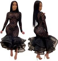 Schwarzes sexy Blumenmeerjungfrau-Kleid