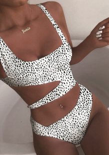 Plain Solid Sexy Cut Out Swimwear