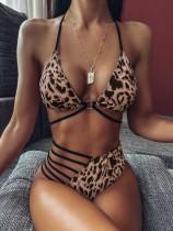 Costumi da bagno allacciato al collo con stampa leopardo