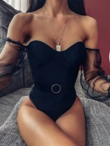 Black Sweetheart One Piece Swimwear with Mesh Sleeves