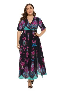 Plus Size Print V-Neck Maxi Dress with Short Sleeves
