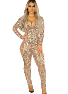 Gold Sequins Long Sleeve Bodycon Jumpsuit