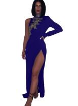 Pailletten Slit Abendkleid mit Single Sleeve