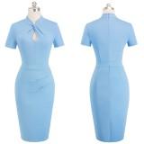 Düz Renk Anahtar Deliği Midi Vintage Elbise