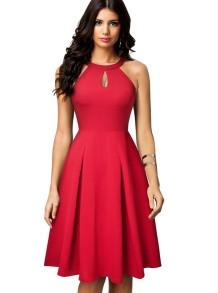 Buraco da fechadura de cor sólida Vintage Dress